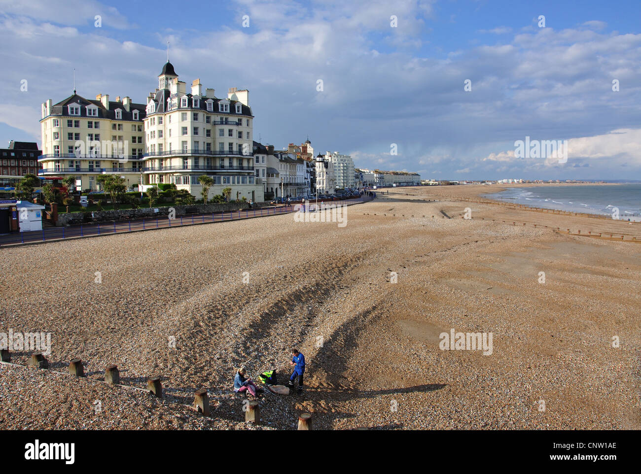 Beach and promenade view from Eastbourne Pier, Eastbourne, East Sussex, England, United Kingdom Stock Photo