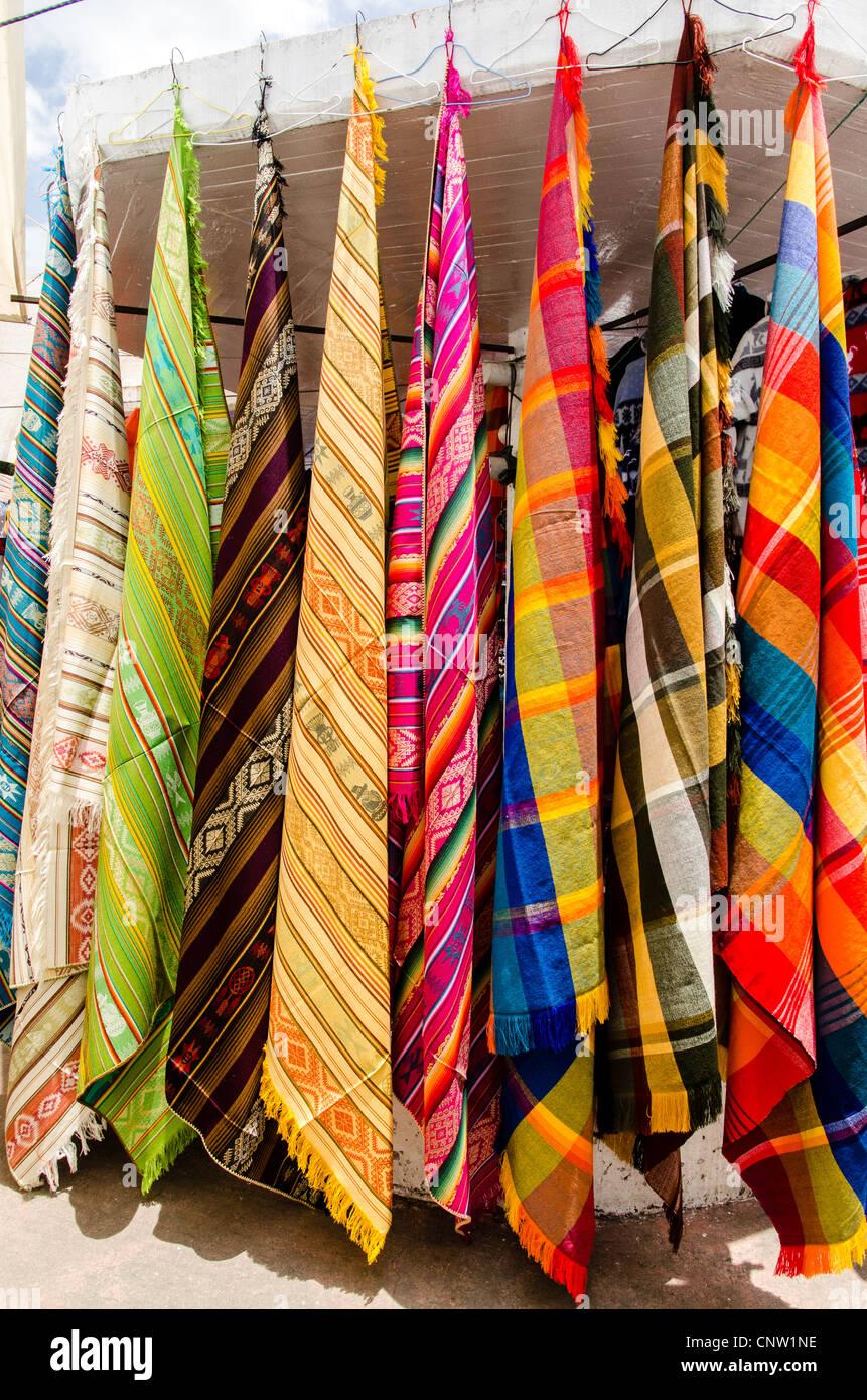 Handicrafts Otavalo market Ecuador - Stock Image