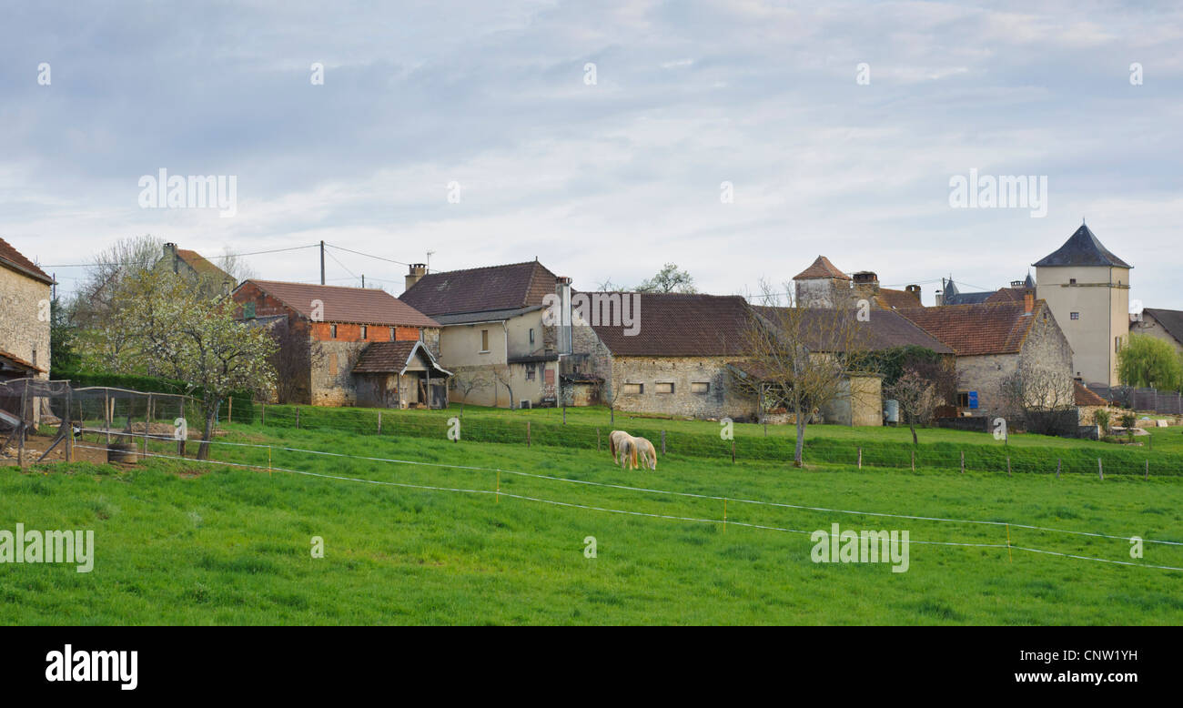 French village in Department of Lot, Vallée du Lot, in southern France with stone buildings and grain field - Stock Image