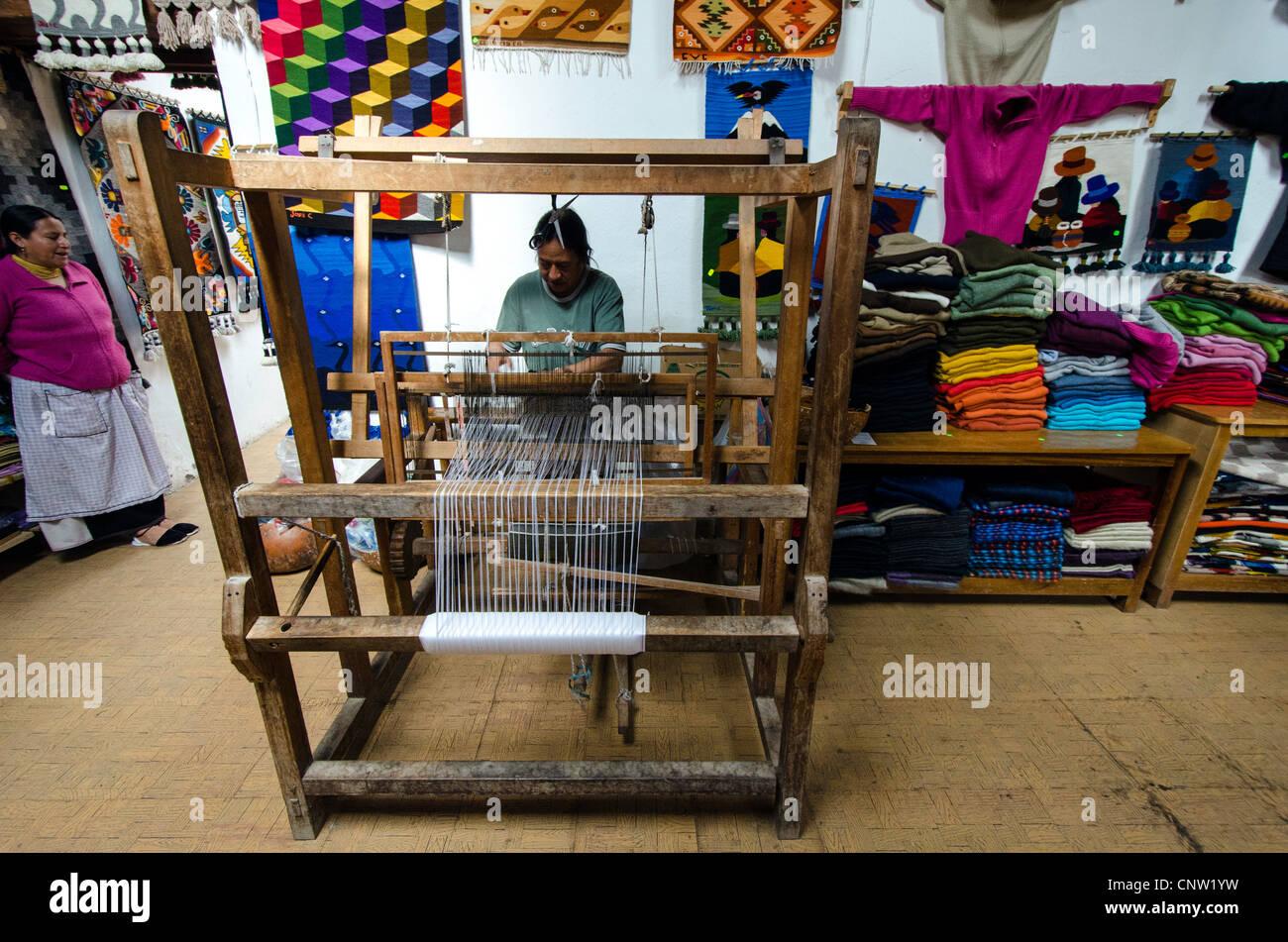 Man weaving Otavalo Ecuador Stock Photo