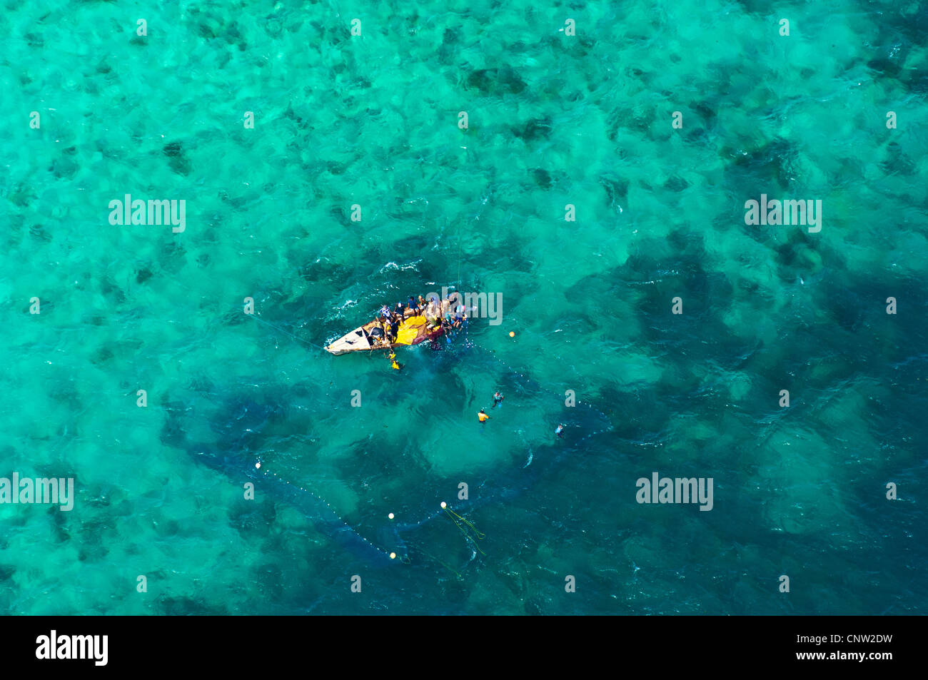 Illegal harvesting of tropical fish, Mafia Channel between  Rufiji River estuary and Mafia Island, aerial view, Stock Photo
