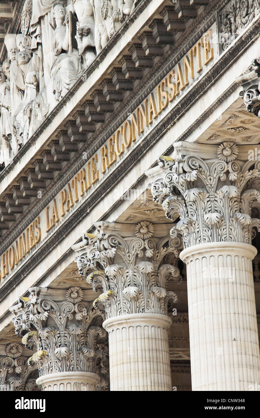 Architectural detail of the Pantheon in the 5th Arrondissement, Paris, France - Stock Image