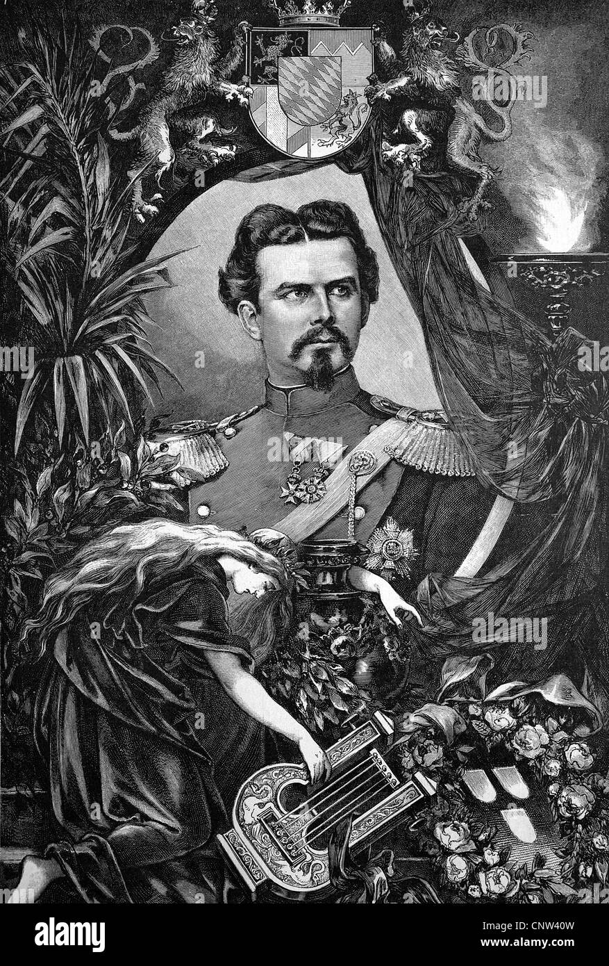 King Ludwig II of Bavaria, Ludwig II Otto Friedrich Wilhelm von Bayern, 1845 - 1886, decendant from the German royal - Stock Image