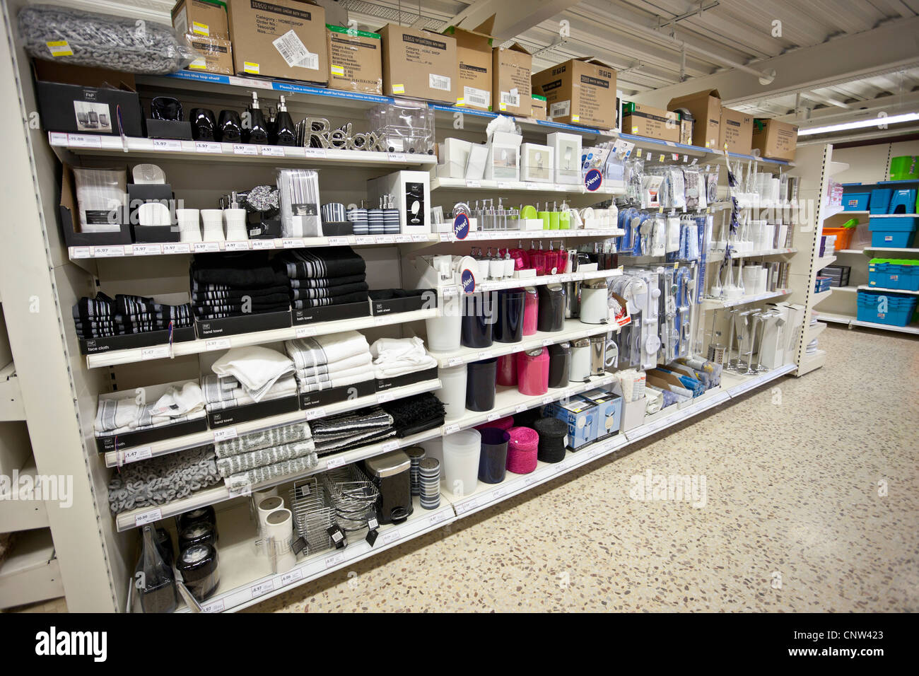 Bathroom accessories and toweling shelves of a shop, London, England ...