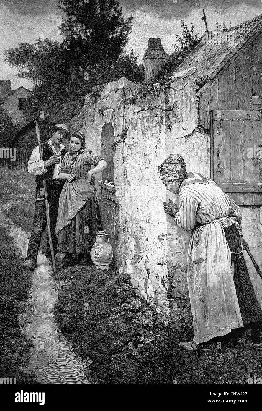 Elderly woman eavesdropping on a couple, historical wood engraving, 1886 - Stock Image