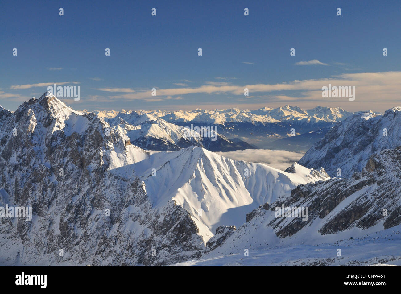 summits of the alps; view from the Zugsitze , Germany, Bavaria - Stock Image