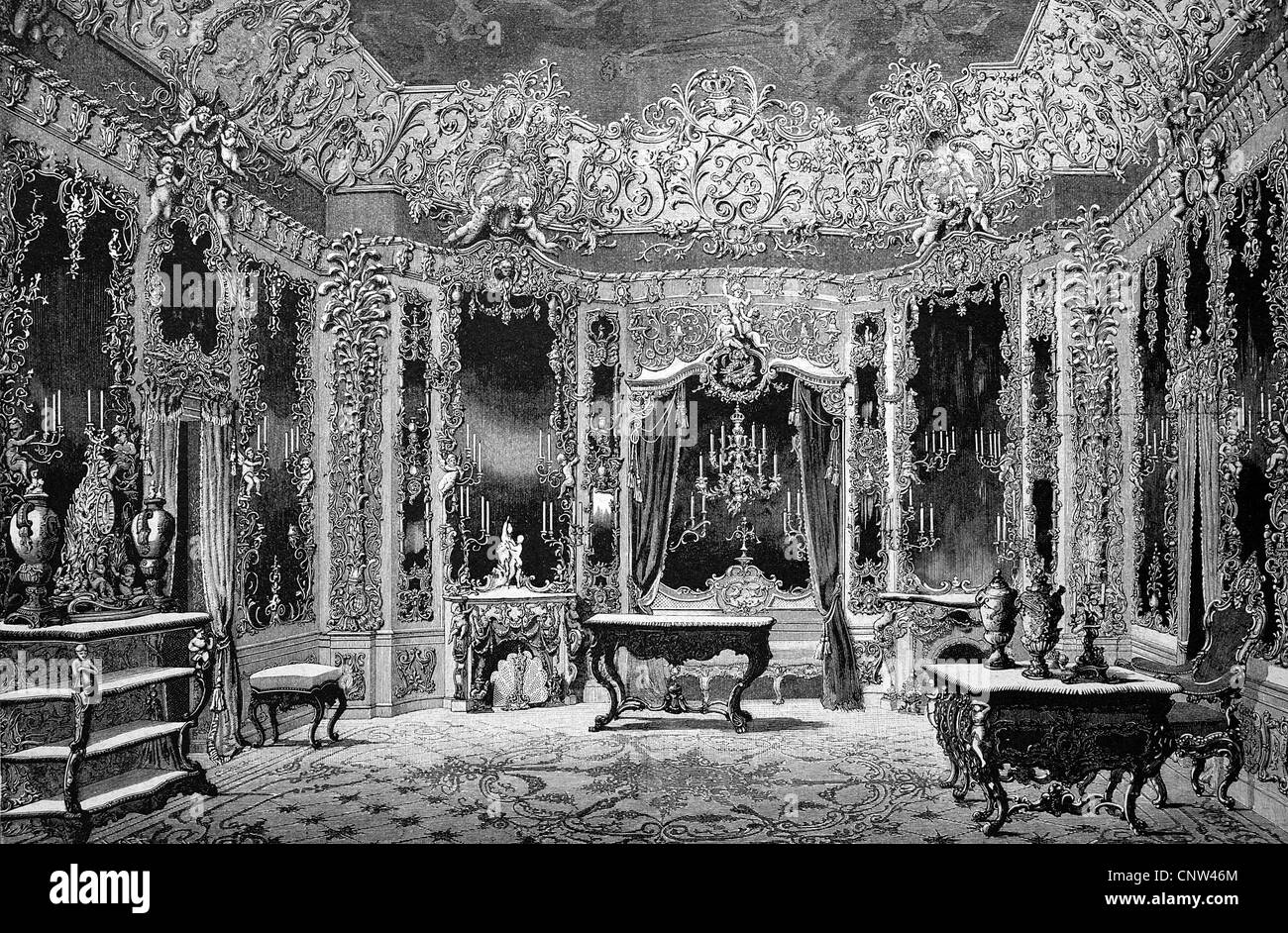 Hall of Mirrors in Schloss Linderhof Palace, Ettal, Bavaria, Germany, historical wood engraving, 1886 - Stock Image
