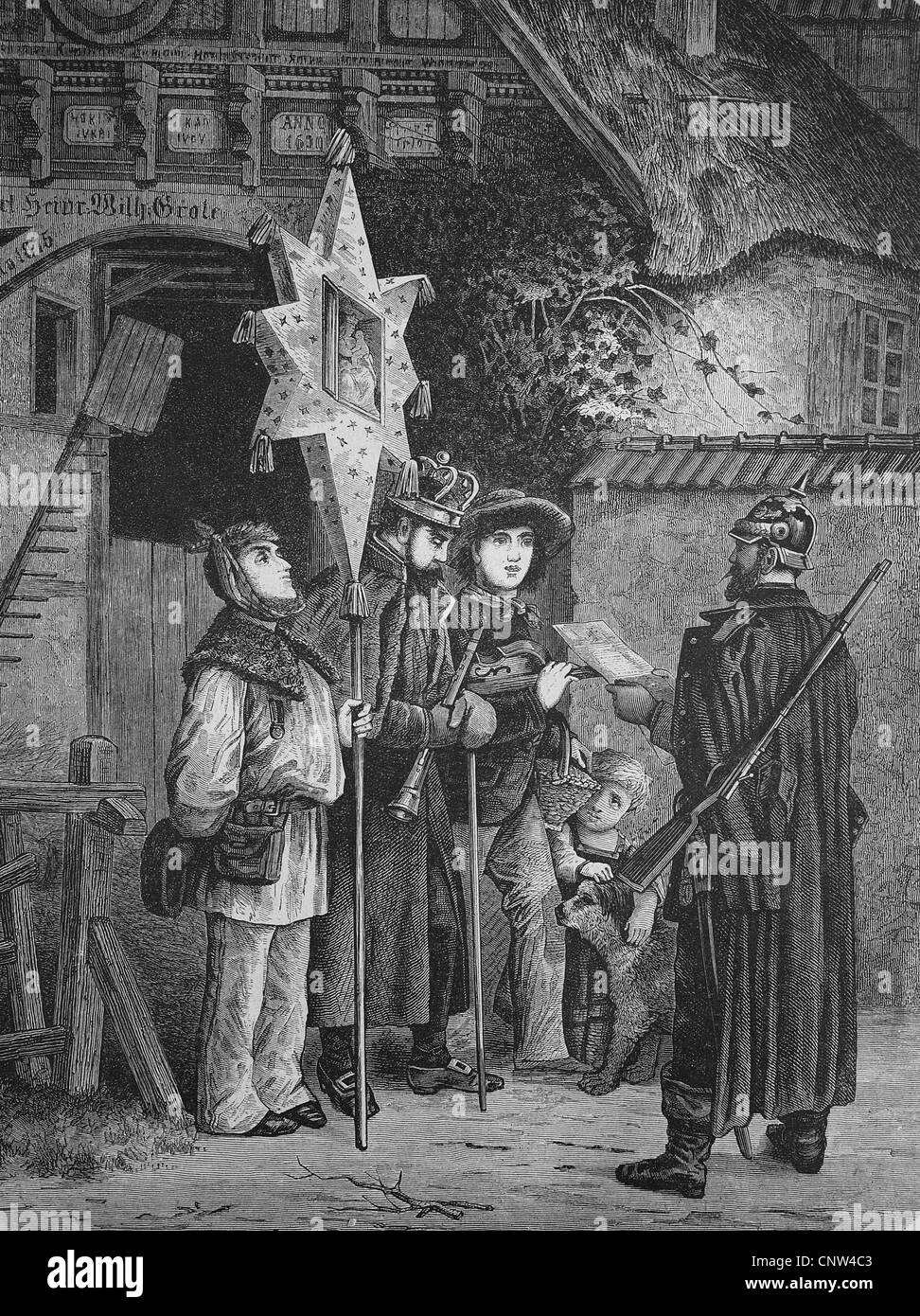 Policeman checking the papers of the three wise men, historical wood engraving, 1886 - Stock Image