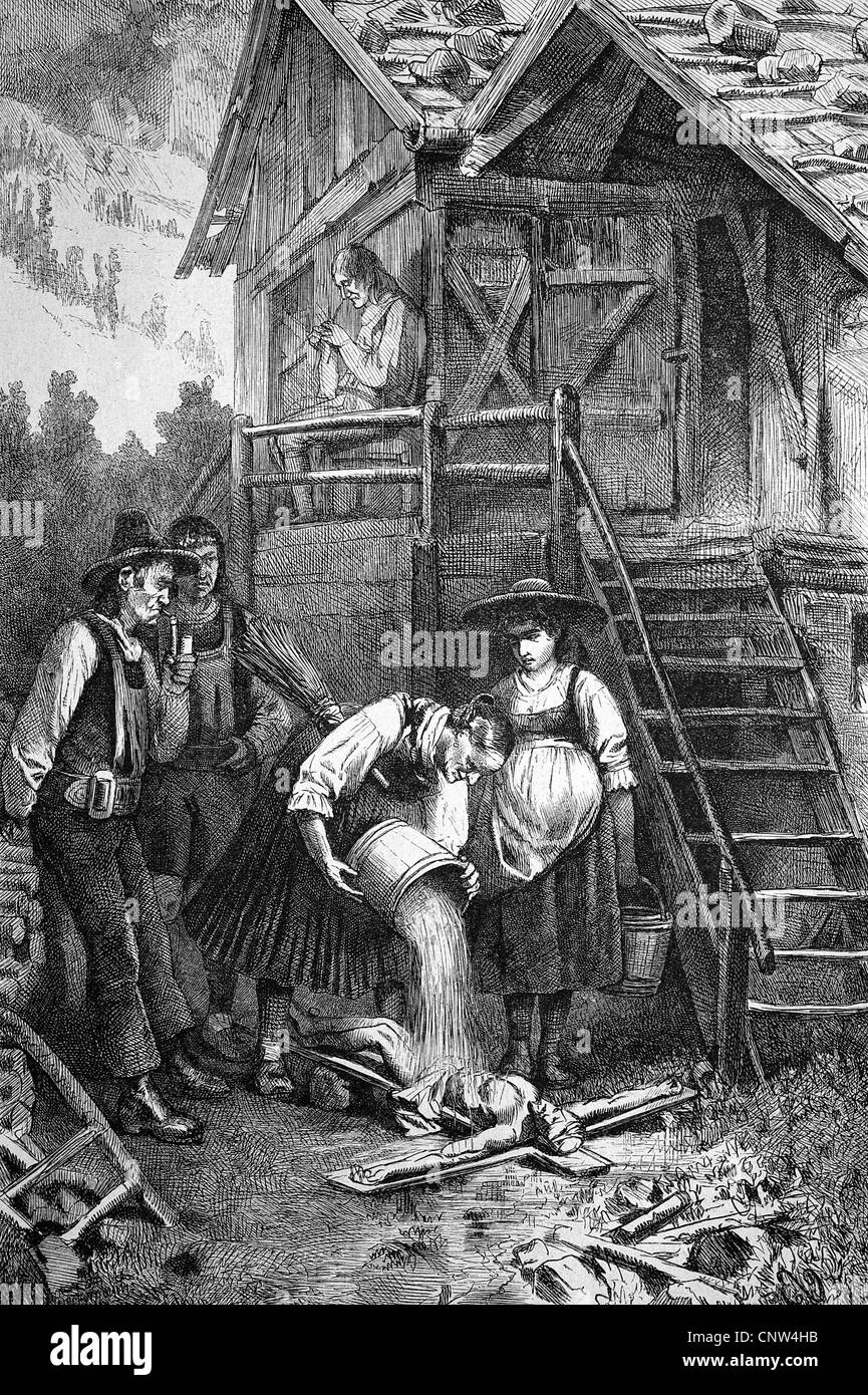 Whit laundry, cleaning a crucifix, historical wood engraving, 1886 - Stock Image