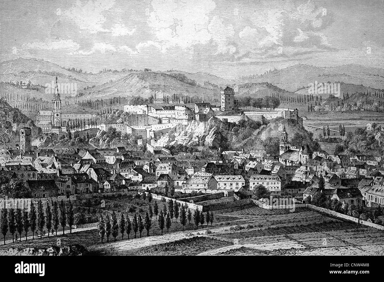 View over the pilgrimage town of Lourdes, France, historical wood engraving, 1886 - Stock Image