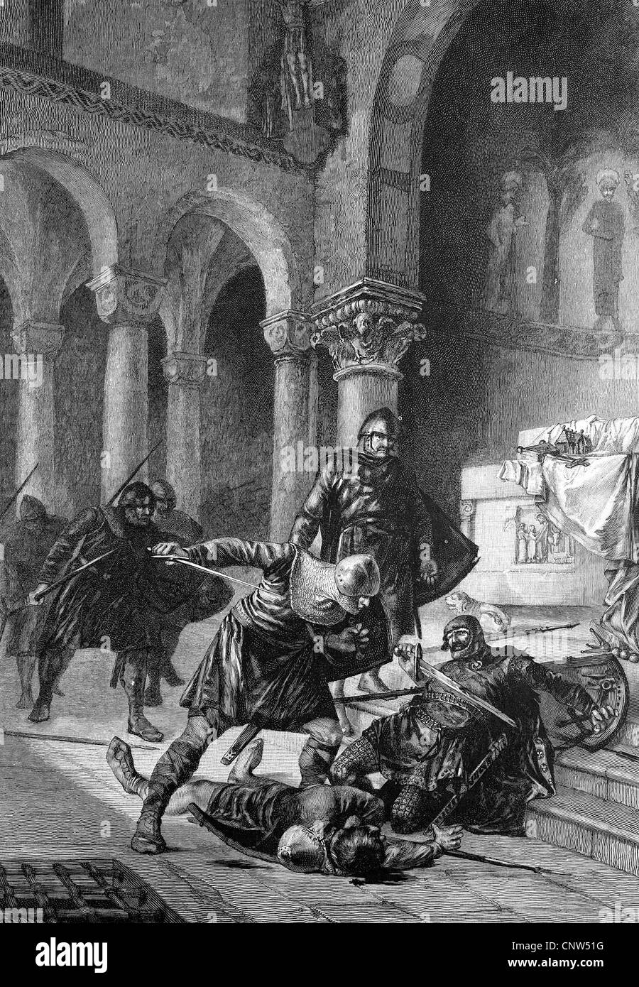 Thankmar's death, Thankmar, 900 or 906-938, from the family of Liudolfings, historical engraving, 1880 - Stock Image
