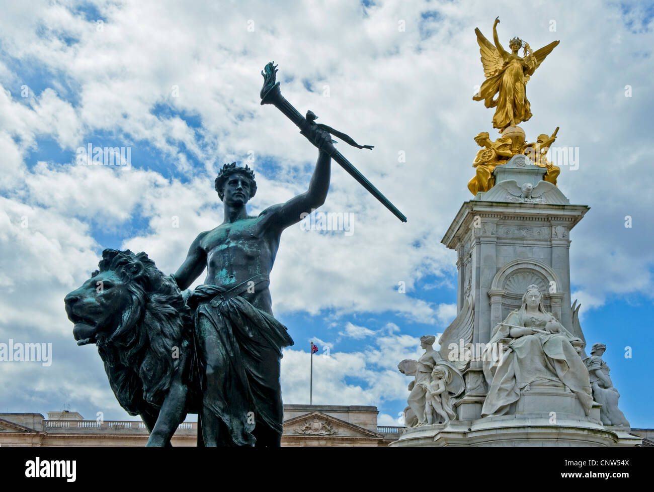 Europe England London,detail of the Victoria Queen monument in front of Buckingham palace - Stock Image