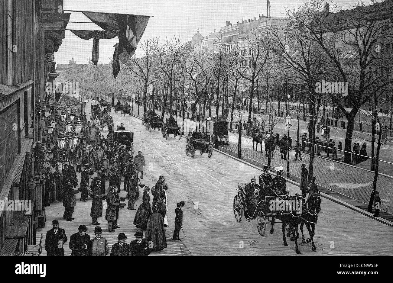 The emperor at the exit of Unter den Linden in Berlin, Germany, historical engraving, 1880 - Stock Image
