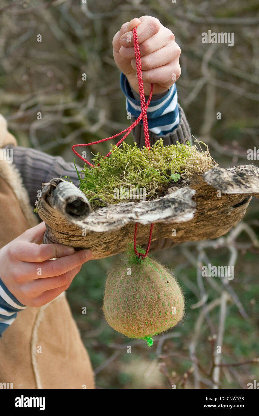 dispenser for nesting material with rain protection - Stock Image