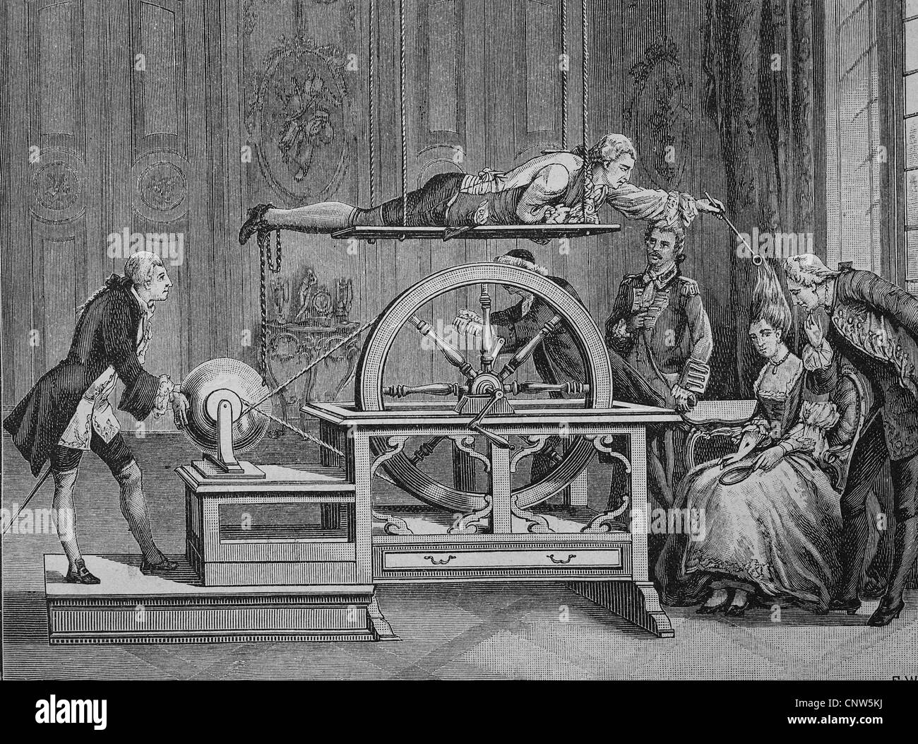 Electricity experiment in the 18th Century, historical engraving, 1880 - Stock Image