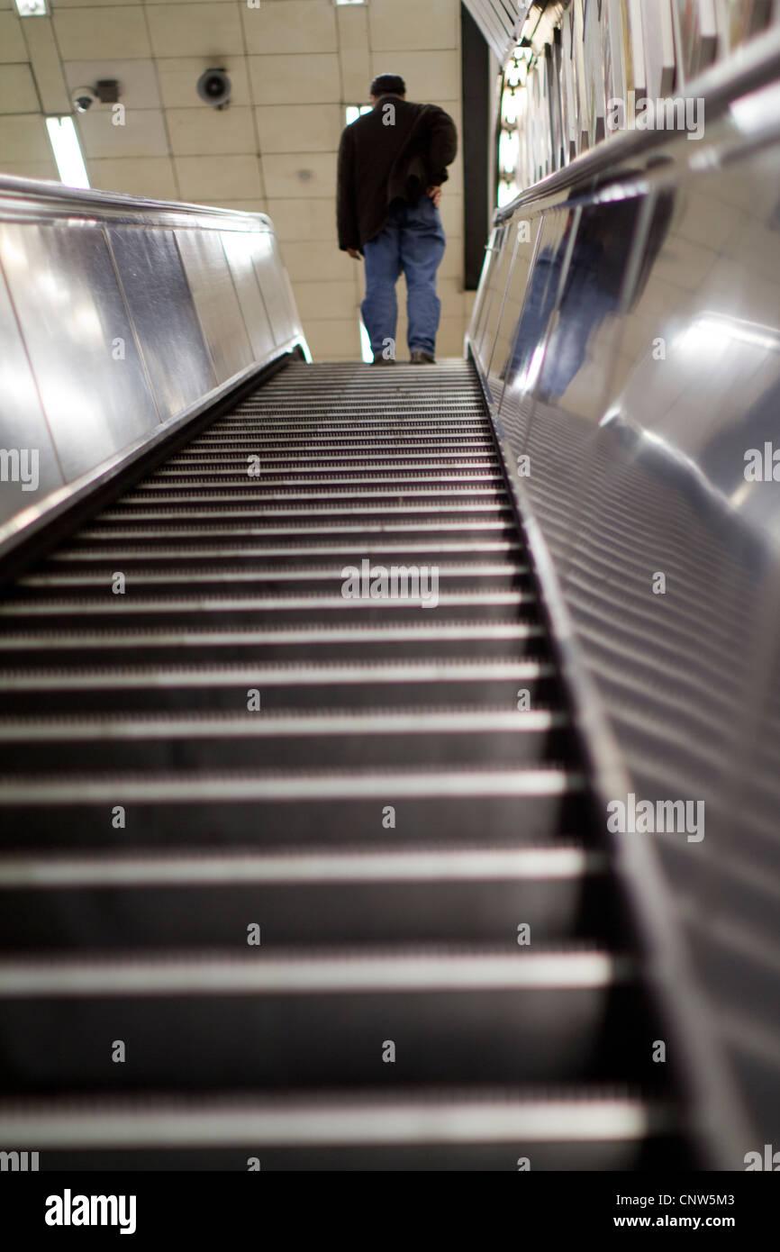London Underground tube network, escalator - Stock Image