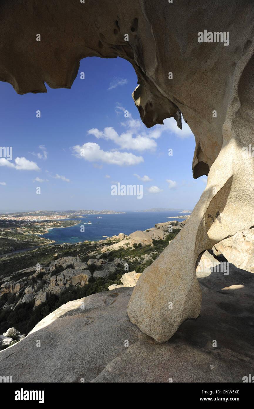 view from Capo d Orso onto the city of Palau, Italy, Sardegna, Costa Smeralda - Stock Image