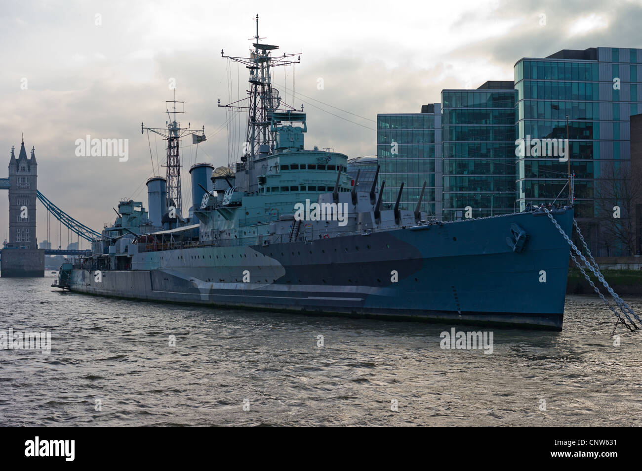 Europe England London seen from the Thames river, the warship HMS Belfast - Stock Image