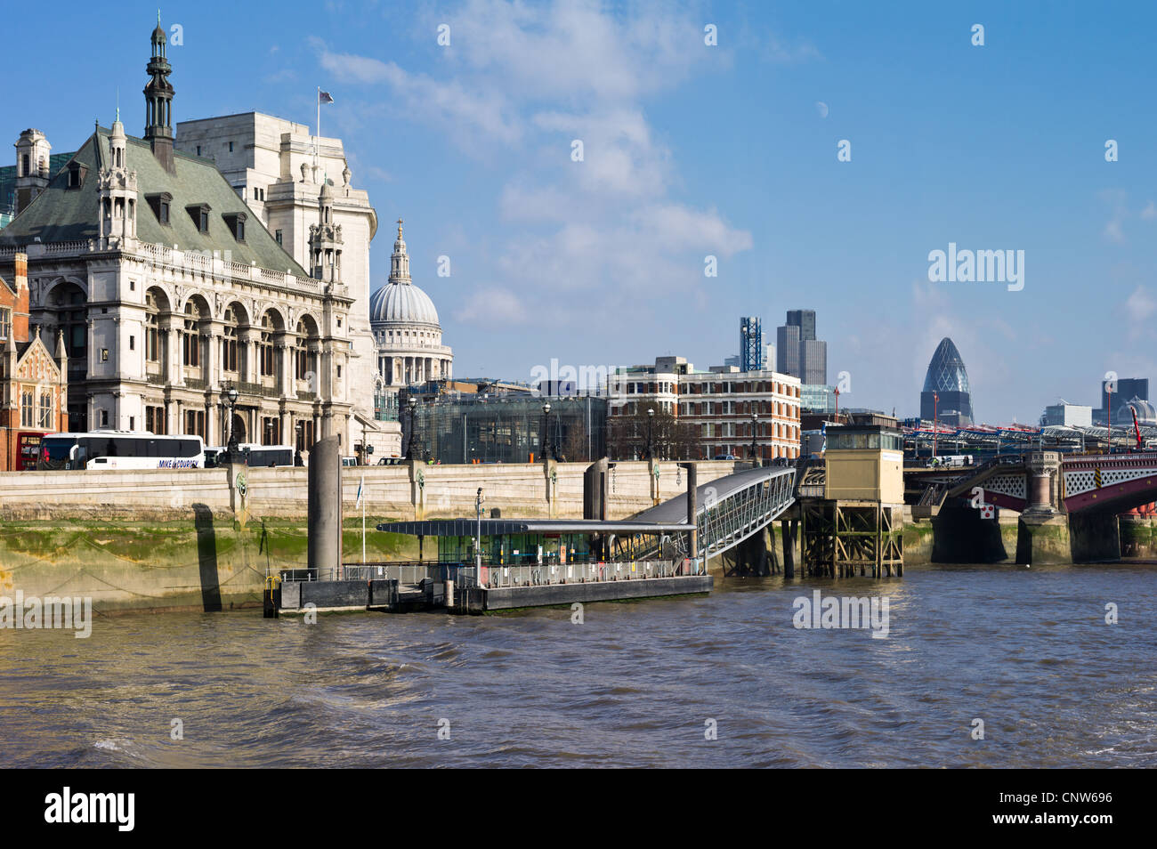 Europe England London seen from the Thames river, the Blackfriars area - Stock Image