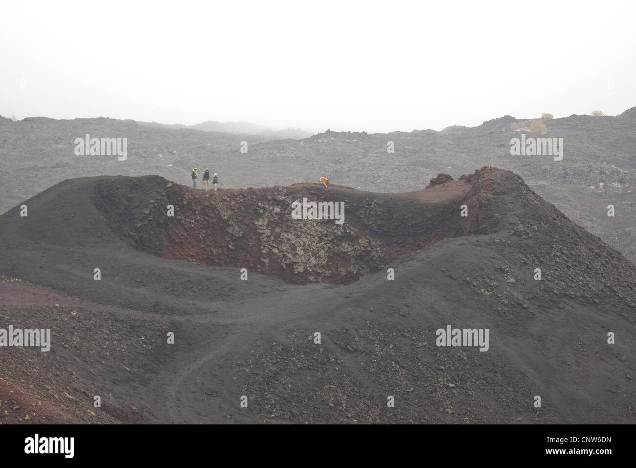 family wandering at a volcanic crater of Mount Etna, Italy, Sicilia - Stock Image