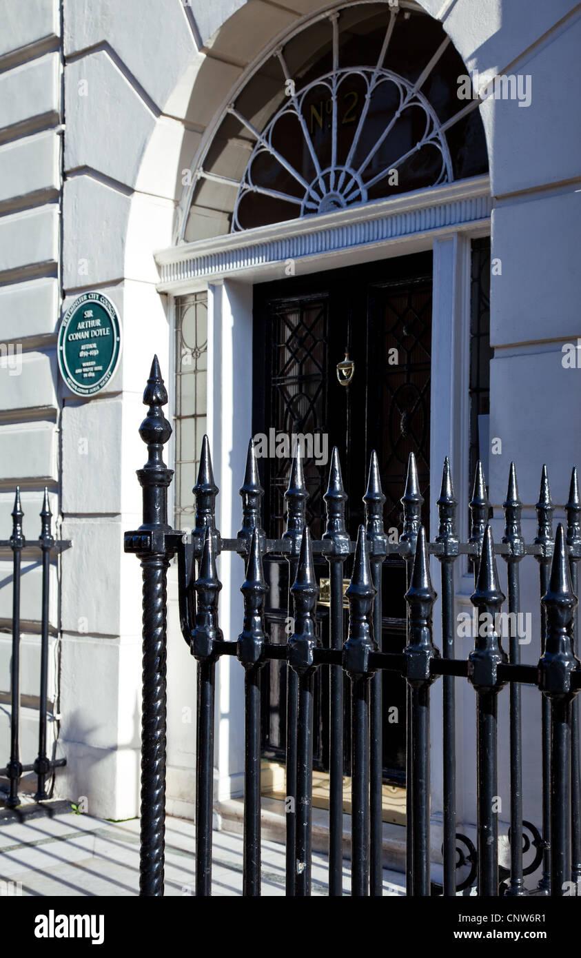 Europe England London, the Sir Arthur Conan Doyle house in Wimpole street - Stock Image