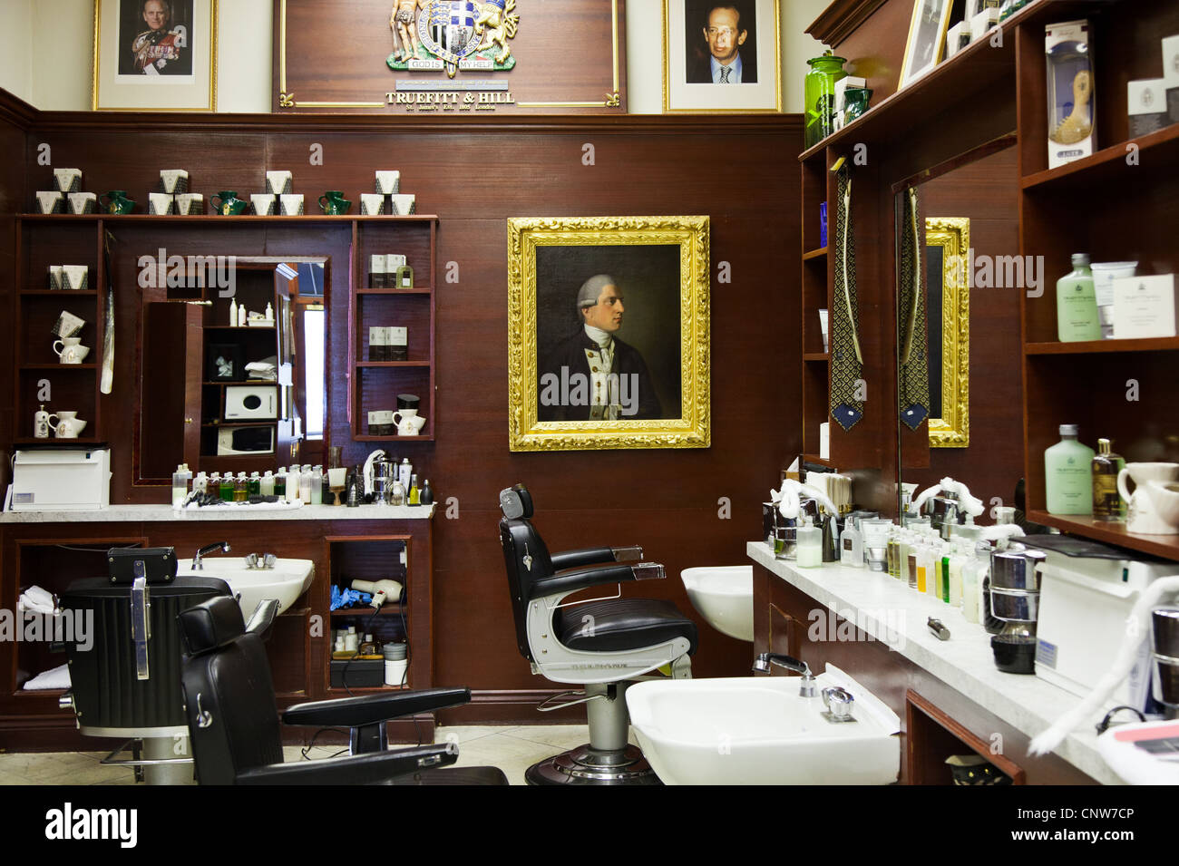 Europe England London, the James Bond's places, the barber shop Truefitt & Hill in St James street Stock Photo