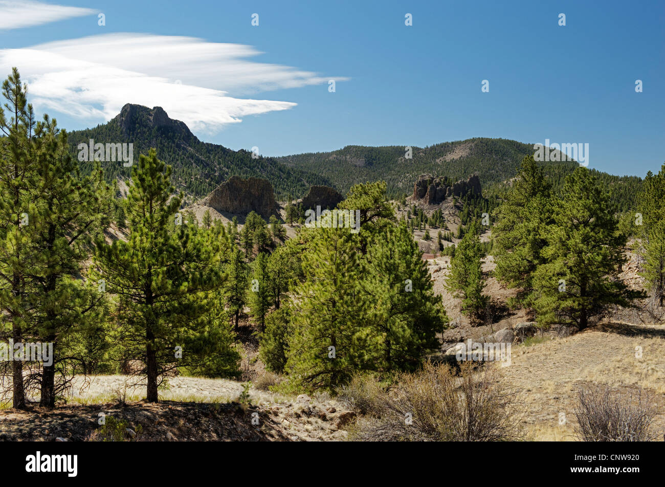 The Castles, as seen from US 285 between Fairplay and Buena Vista Colorado - Stock Image