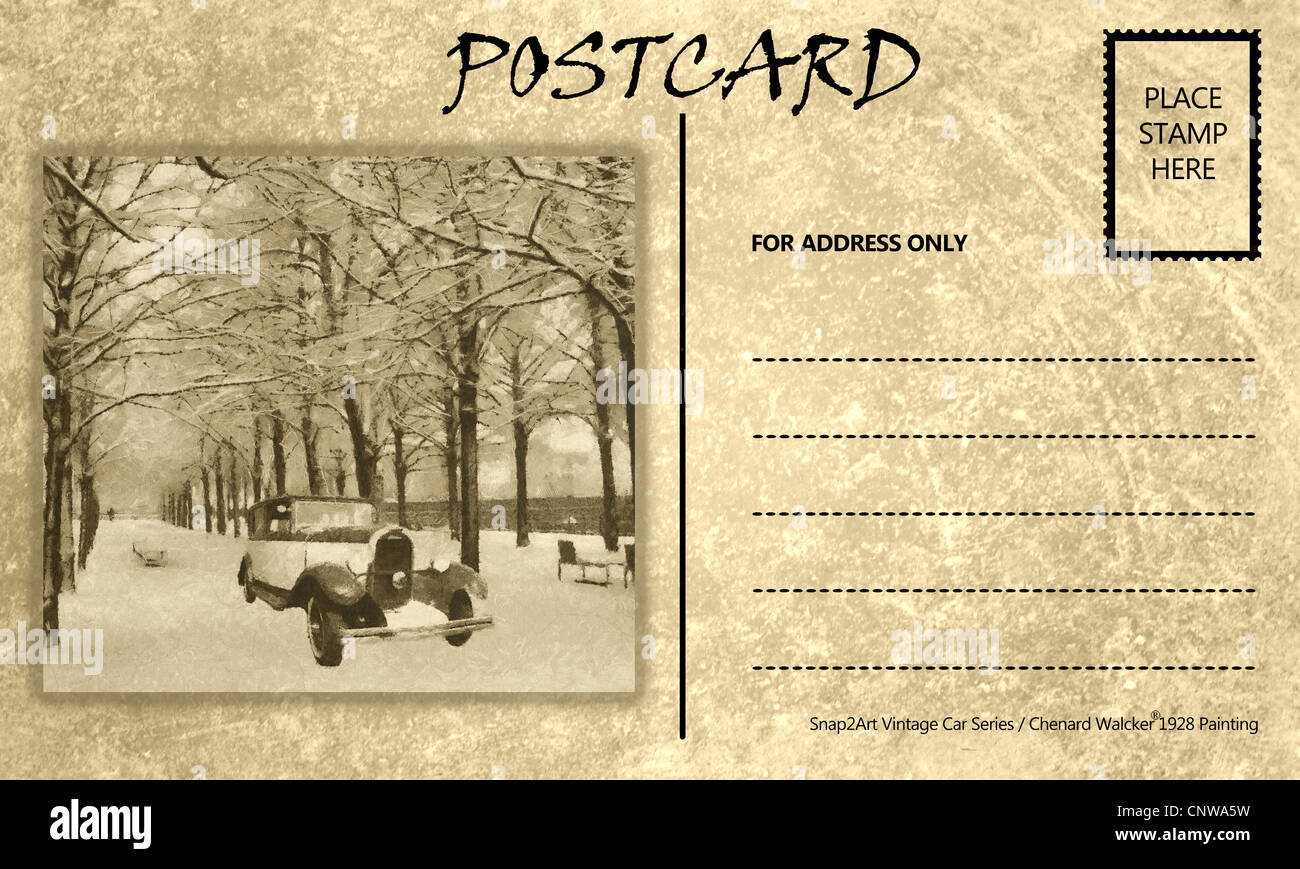 vintage motor car stained postcard template with copy area stock
