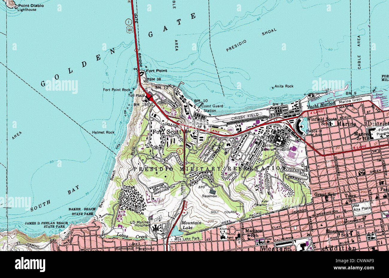 topographic map of San Francisco Presidio California Stock Photo ...