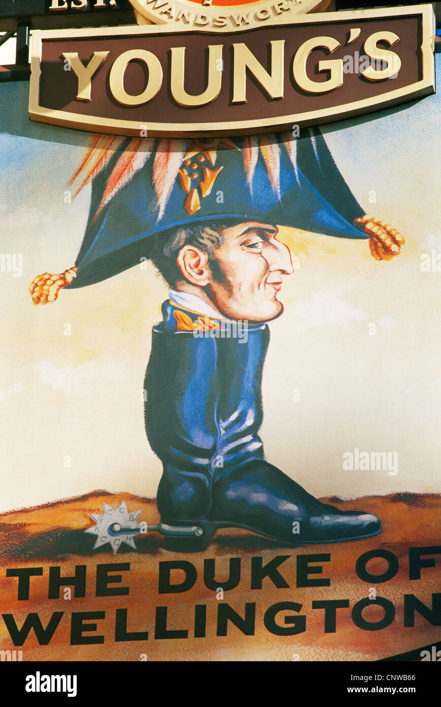 England, London, The Duke of Wellington Pub Sign - Stock Image