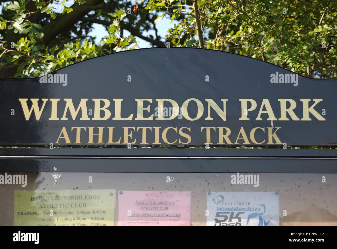 noticeboard for wimbledon park athletics track, southwest london, england - Stock Image