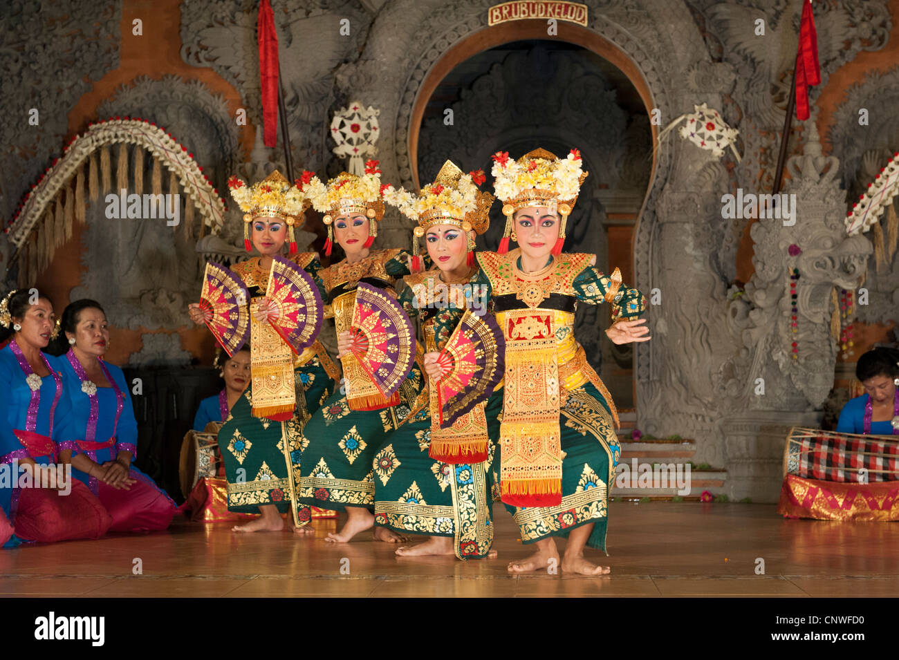 Balinese dancers performing a sort of legong dance in Ubud, Bali, Indonesia - Stock Image
