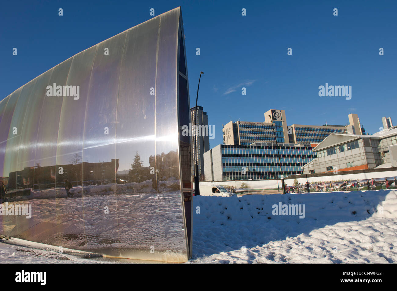 The Blade sculpture, outside Sheffield Railway station, after a snow storm - Stock Image