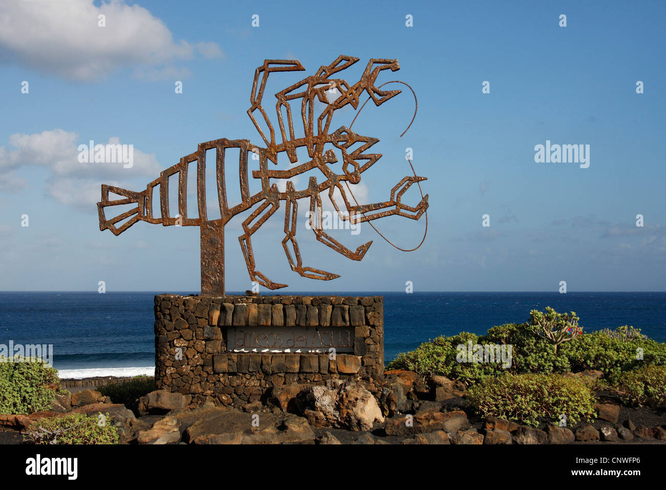 Munidopsis polymorpha (Munidopsis polymorpha), iron monument in the shape of a crab, Canary Islands, Lanzarote, Stock Photo