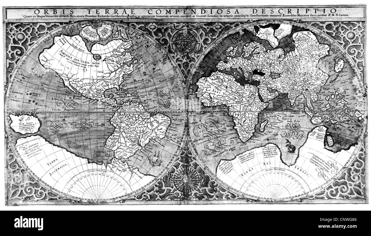 1587 World Map.Map Maps Of The World Map After Mercator 1587 Stock Photo