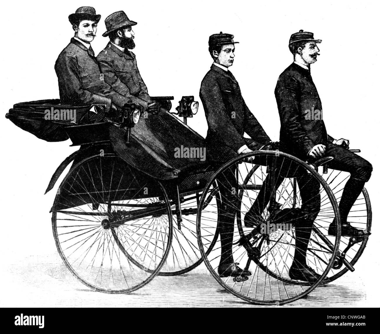 transport / transportation, bicycle, rickshaw, Velociped hackney carriage by Dumstrey & Jungk, Berlin, Germany, - Stock Image