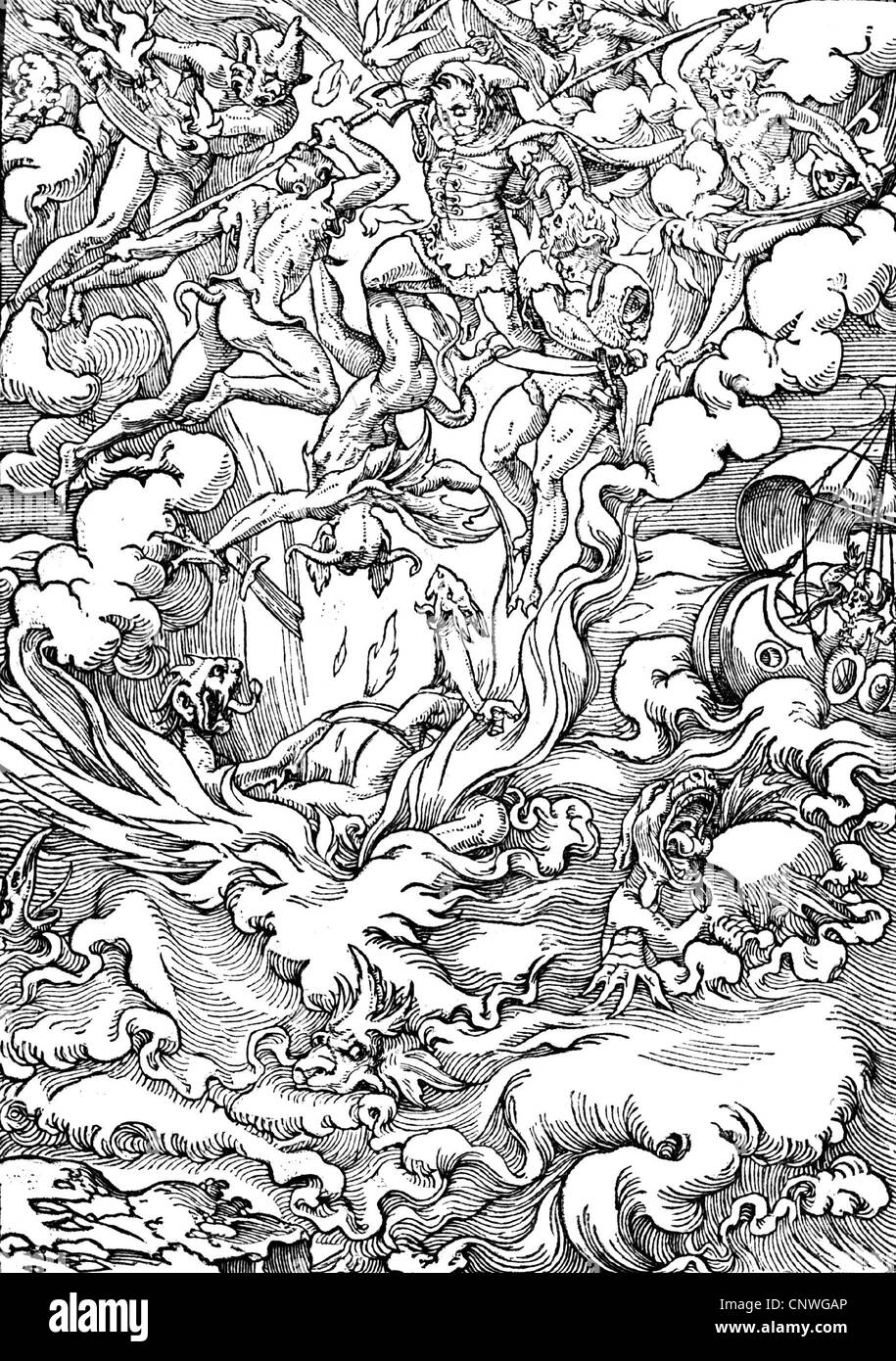 religion, apocalypse, Last Judgement, woodcut by Jean Cousin, from the novel by Gerard d'Euphrate, Paris, 1549, - Stock Image