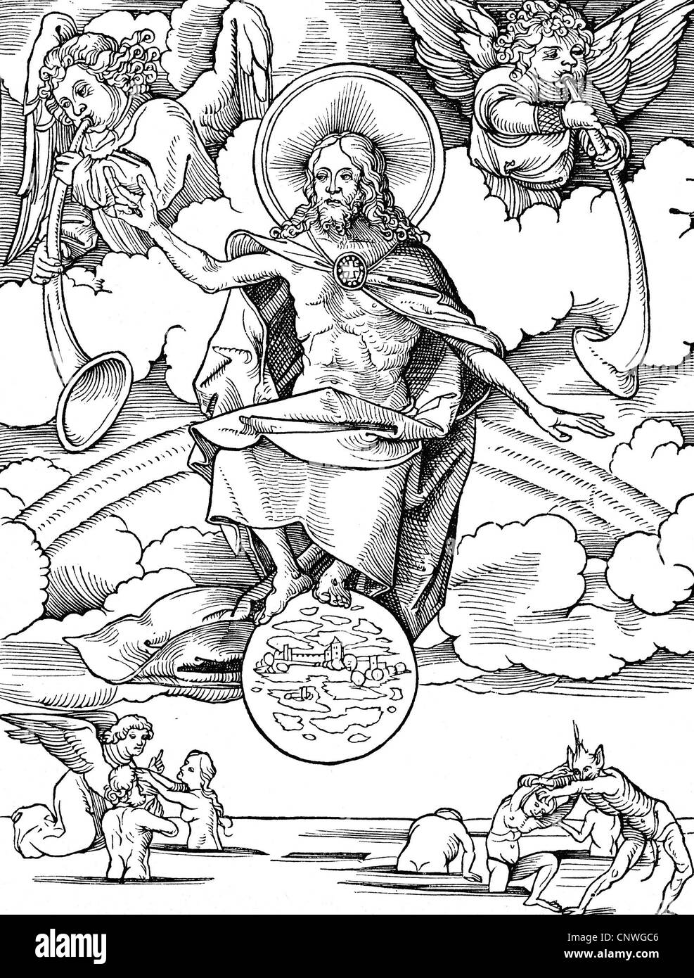 religion, apocalypse, 'Last Judgement', woodcut by Hans Wechtlin (1480/1485 - after 1526), Additional-Rights - Stock Image