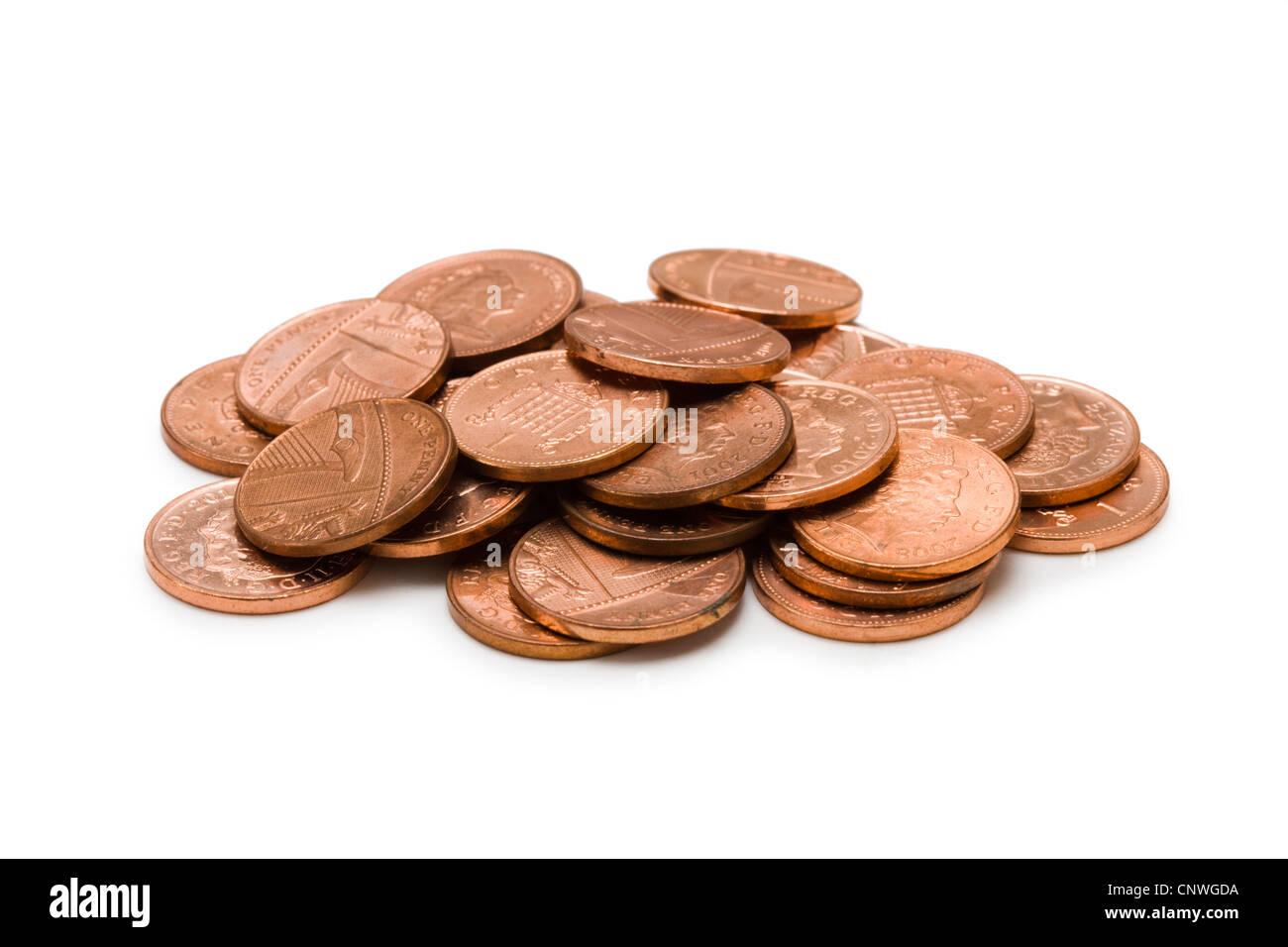 Pennies (British). - Stock Image