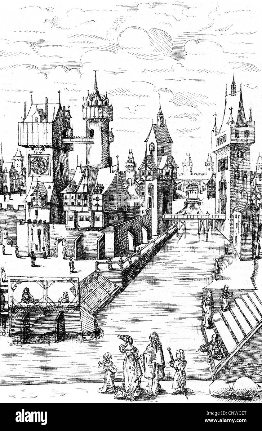 Middle Ages, architecture, scene in a mediaeval city, 15th century, wood engraving, 19th century, after a drawing, - Stock Image