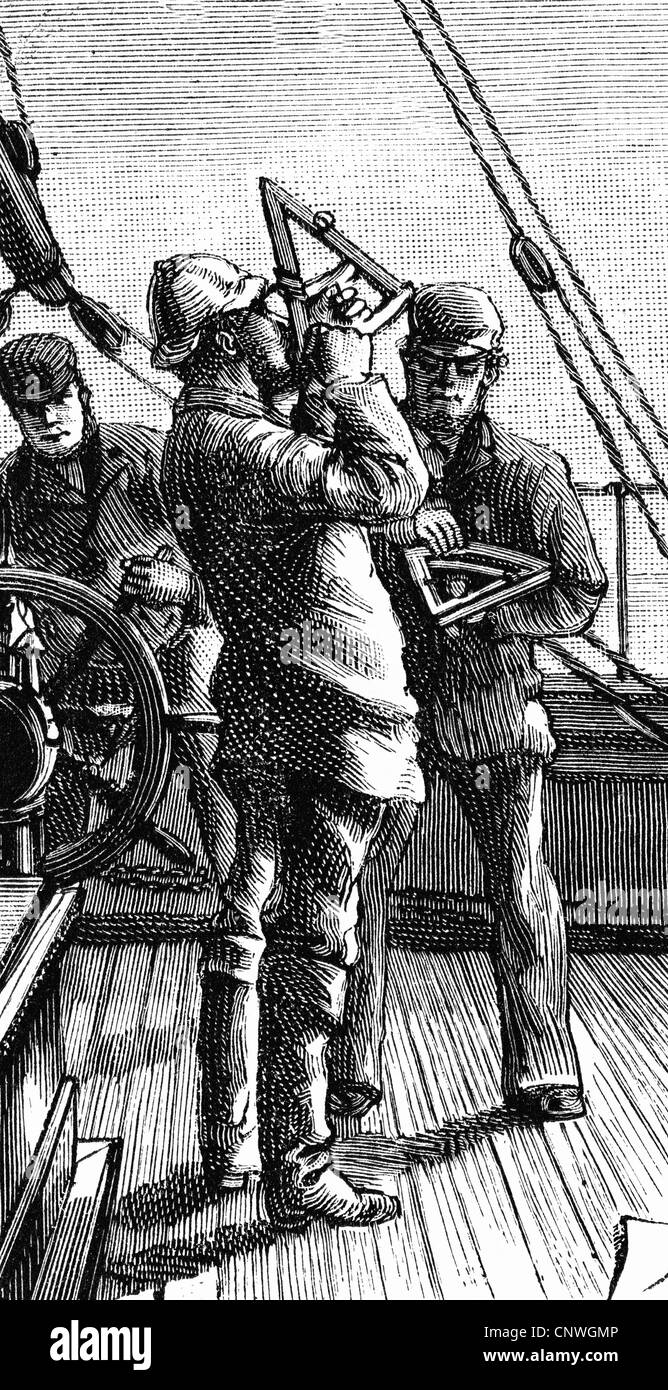 transport / transportation, navigation, life and work at sea, captain making measurement, wood engraving after drawing - Stock Image