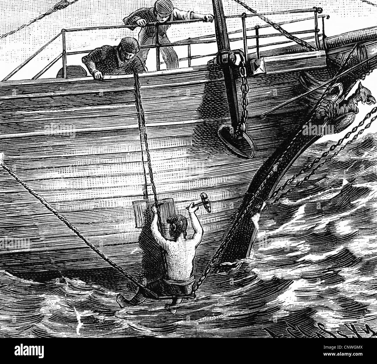 transport / transportation, navigation, life and work at sea, fixing a leak at high sea, wood engraving after drawing - Stock Image