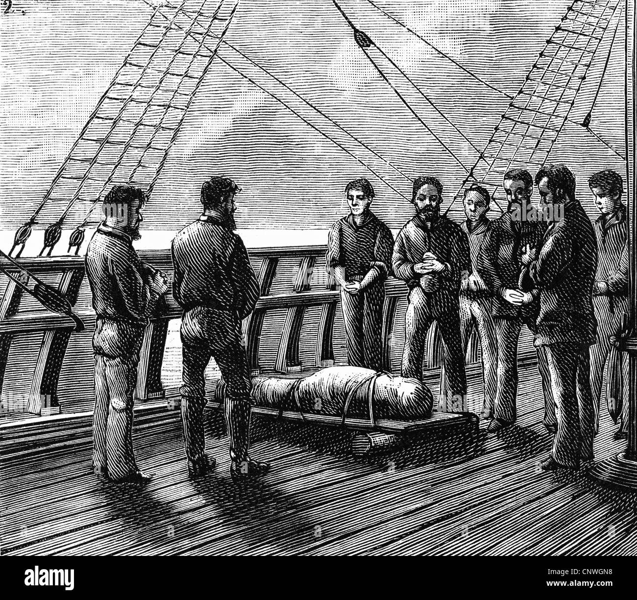 transport / transportation, navigation, life and work, burial at sea, after drawing by Carl Schildt, wood engraving, - Stock Image