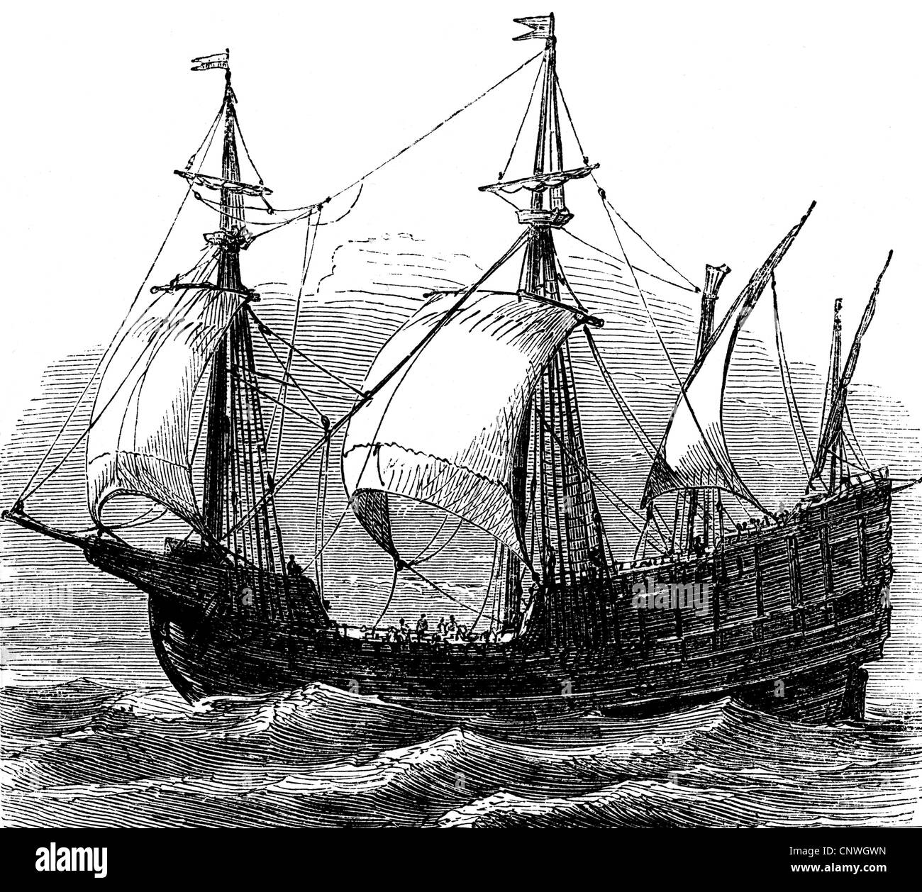 transport / transportation, navigation, sailing ships, caravel, caravel from the 15th century, wood engraving, 19th - Stock Image
