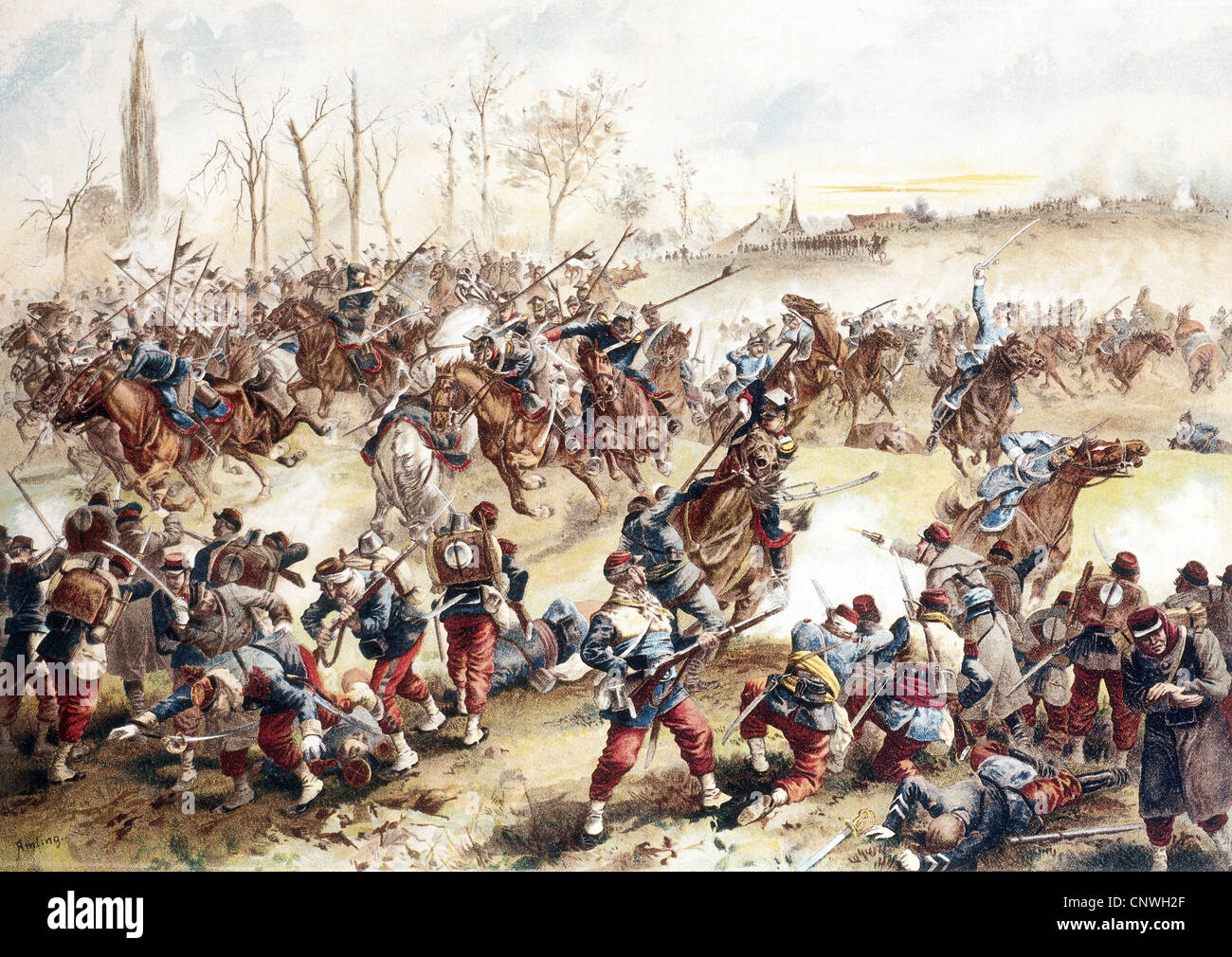 events, Franco-Prussia War 1870 - 1871, Battle of Saint-Quentin, 19.1.1871, charge of Prussian cavalry, chromolithograph - Stock Image