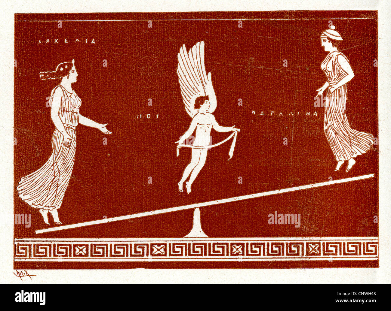 A winged figure in the center of a balance between two ancient Greek women - Stock Image