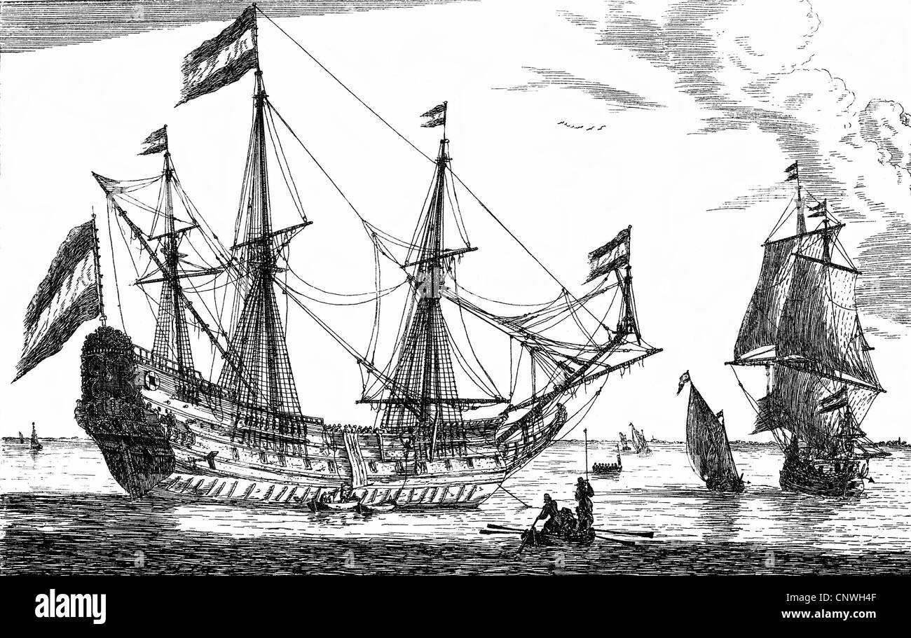 transport / transportation, navigation, sailing ship, galleon, Dutch merchant ship, etching by Reinier (Nooms) Zeeman, - Stock Image