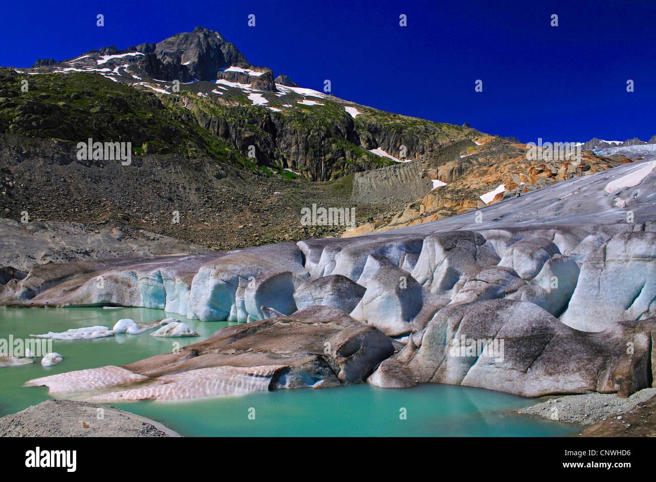 glacier lake of the Rhne Glacier, Switzerland, Valais - Stock Image