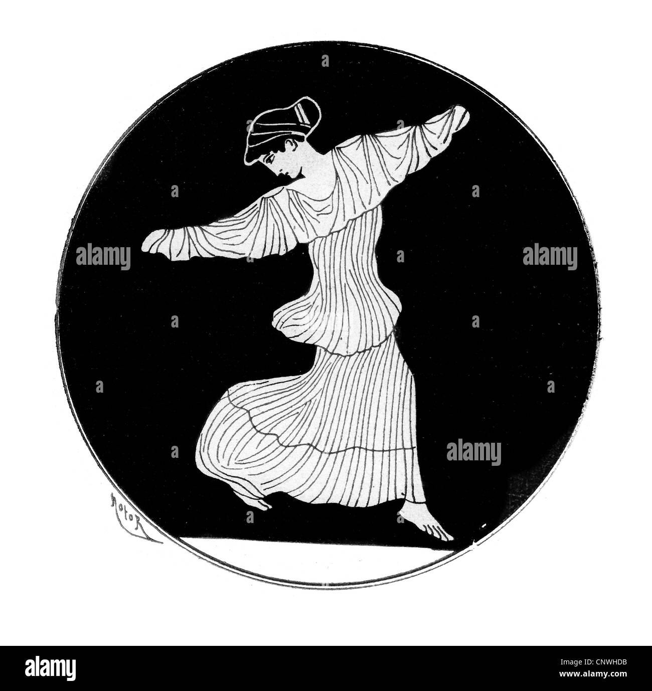 An ancient Greek woman dancing - Stock Image