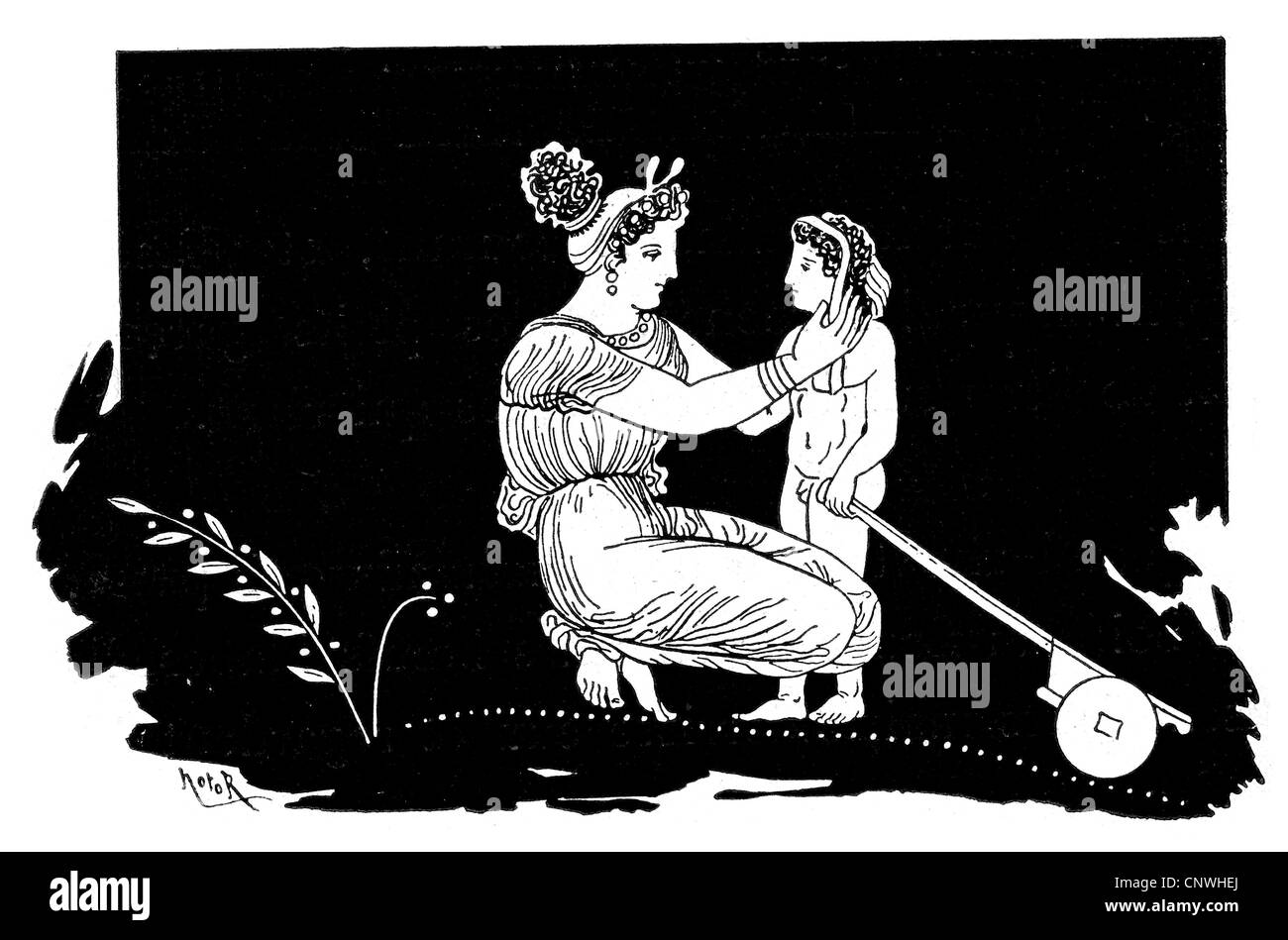 An ancient greek mother and her young son - Stock Image